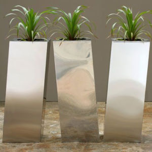 Stainless Steel Flower Planter Pot with Rectangle Shape