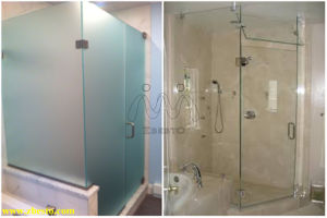 10mm Clear & Frosted Tempered Toughened Shower Room Glass Door