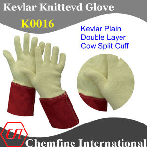Kevlar Plain Double Layer Glove with Cow Split Leather Cuff pictures & photos