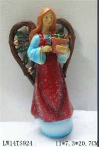 Christmas Fairy Figurine with Bird for Garden Decoration