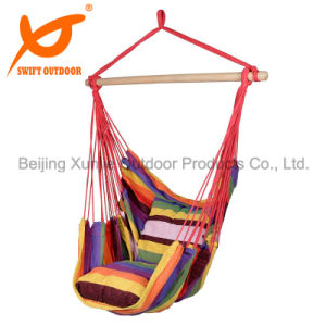 Hanging Rope Chair Swing Hammock Porch Swing Seat Two Cushions Striped  Rainbow