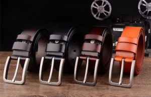 Luxury Men′s Leather Belt Jeans Belt Pin Buckle Fashion Retro