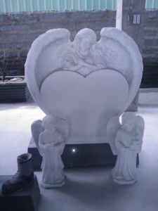 American Style Grey Granite Headstone with Angel Heart Shaped