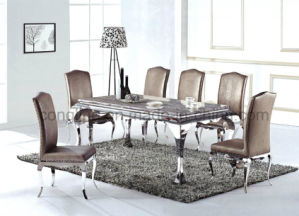 Latest Design Elegant Shape Dining Table with Top Glass