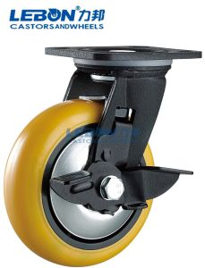 Double Ball Bearing Swivel Side Brake Polyurethane Yellow Caster Wheel