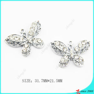 Clear Crystals Metal Butterfly Charm Jewelry Making (MPE)
