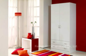 Simple Flat Melamine Swing Wardrobe in White Color (HF-WB027)