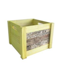 Square Wooden Storage Basket Box