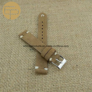 8ed229ecc2e Beige Color Custom Logo Suede Leather Watch Band 14 16 18 20 22 24 26mm