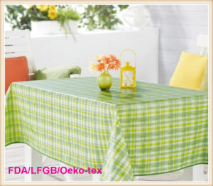 PVC Printed Tablecloth with Flannel Backing (TJ0099) pictures & photos
