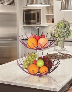 Double Tiers Kitchen Fruit Basket by Metal