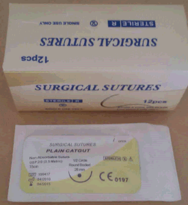 Surgical Suture, USP0 Plain Catgut with Needle pictures & photos