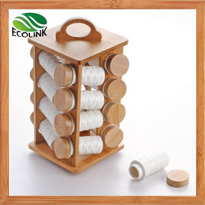 Bamboo Spice Rack with 16 Ceramic Jars pictures & photos