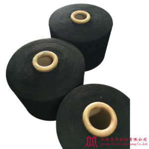 Recycled Black Cotton Polyester Carded Yarn (0-10s)