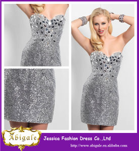 2014 Sliver Sweetheart Sequins and Crystals Mini Designer Luxurious Cheap Party Dress (YC093)