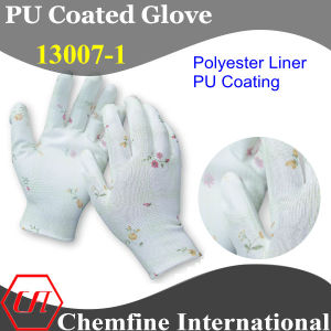 13G White Polyester Knitted Glove with White PU Smooth Coating pictures & photos