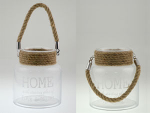 2015 High Quality Glass Lantern with Jute Rope Handle pictures & photos