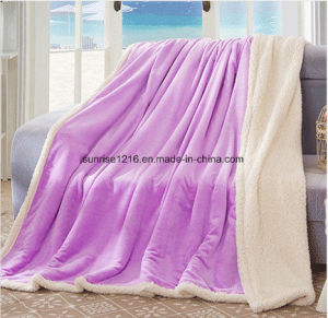 Winter Blanket Sr-B170212-38 Solid Flannel with Sherpa Blanket