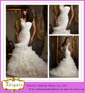 Best Selling White Mermaid Sheer Strap Button Back Ruched Bodice Latered Organza Skirt Bridal Gown 2013 (MN1079)