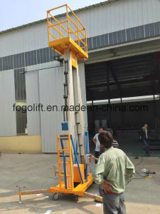 12m Aerial Mobile Mast Lift Push Around Personl Lift Aluminum One Person Lift pictures & photos