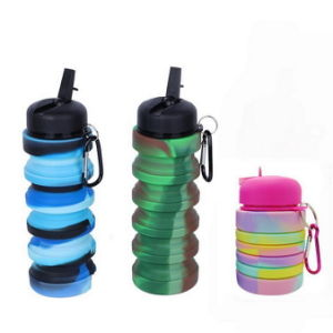 Colorful Silicone Collapsible Straw Camping Water Bottle