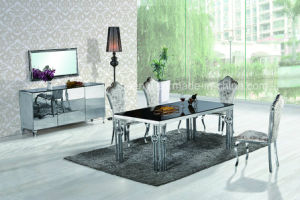 China Modern Tempered Glass Top Or Marble Top Or Wood Top Stainless - Glass or wood dining table