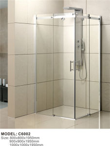 Stainless Steel Frame Sliding Shower Glass Door Shower Enclosure C6002