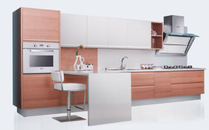 Wood Grain Melamine Finish Laminate MFC Kitchen Furniture (zg-042) pictures & photos