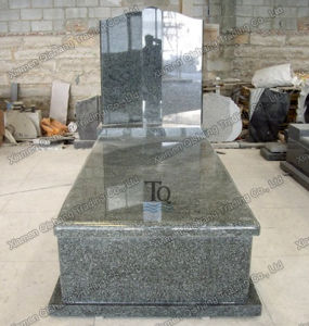 Australian Style Coffin Green Granite Tombstone with Board