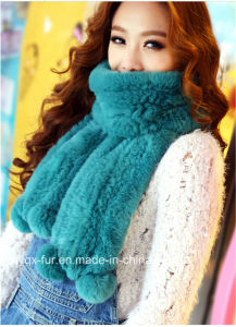 2014 Knitted Real Rex Rabbit Fur Scarf (Qy-S8)