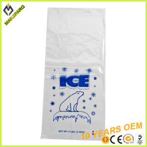 Polar Bear Printing Disposable LDPE 8lb Wicket Plastic Ice Bag