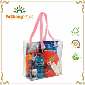 Wholesale Clear Waterproof Plastic Cosmetic Packaging Handle Printed Transparent PVC Bag pictures & photos