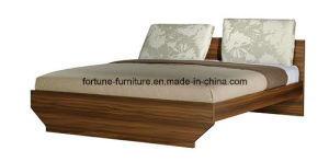 Modern Wooden Walnut & White Double Bed (B1021-1.8)