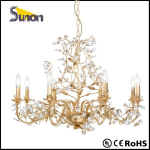 Foil Gold Wrought Iron Antique Big Crystal Chandelier Lighting