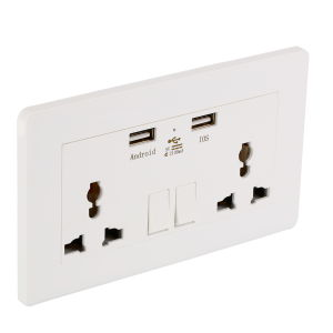 Wall Socket Dual 2 USB Plug Switch Power Supply