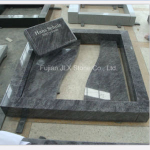 Bahama Blue Granite Flat Gravestone with Kerbs