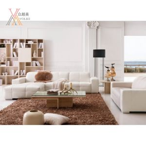 White Leather Sofa with Corner (1098A)