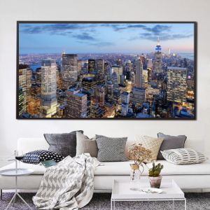 New York City at Night View Canvas Prints