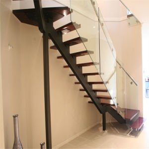 L Shape Glass Balustrade Staircase with Wood Tread pictures & photos