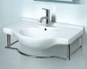 Ceramic Basin With Stainless Steel Stand (WT-73005A)