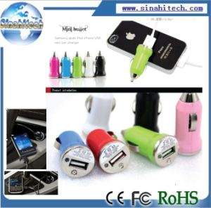 Logo Printing Mini Universal USB Car Charger Adapter for iPhone/ iPod/ Mobile Phone/ MP3/ MP4 Tablet