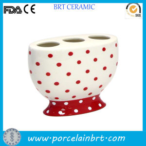 Red Dotted Decorative Toothbrush Holder pictures & photos