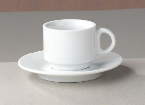White Hotel Ware Coffee Cup And Saucer