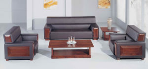 Wood and Leather Combined Office Sofa (bgsf-013)