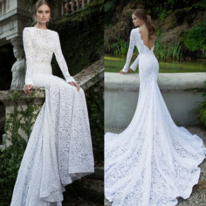 Sexy Hollow Lace Wedding Gown Bodycon Dress Bridal Long Sleeves Fashion Dressess