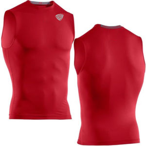 Football Heatgear Sonic Red Sleeveless Compression T-Shirt (SRC66)