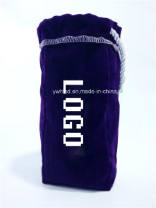 Flocking Fabric Embroider with Satin Lining Rope Bottle Bag