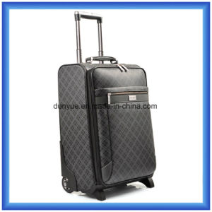 Full Printing PU Leather Travel Luggage Case, Durable Customized Business Trip Trolley Bag with Two Revolving Wheels