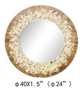 Wooden Framed Rough Antique Round Wall Mirror Printing on Mirror
