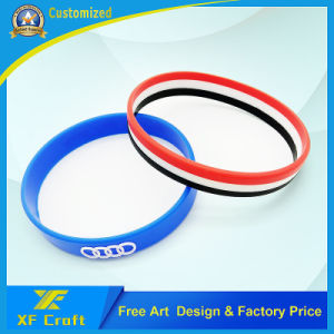 Professional Custom Silkscreen Silicone Wristband for Promotion Gift (XF-WB08) pictures & photos